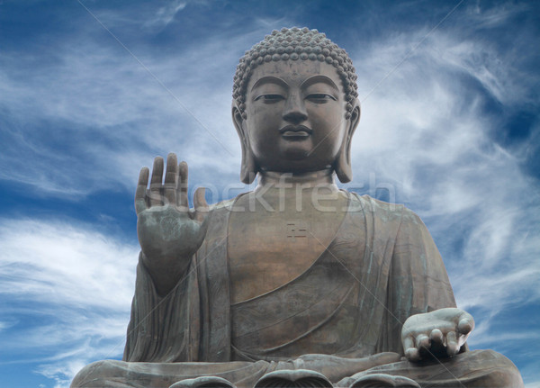 Photo stock: Grand · buddha · Hong-Kong · dramatique · ciel