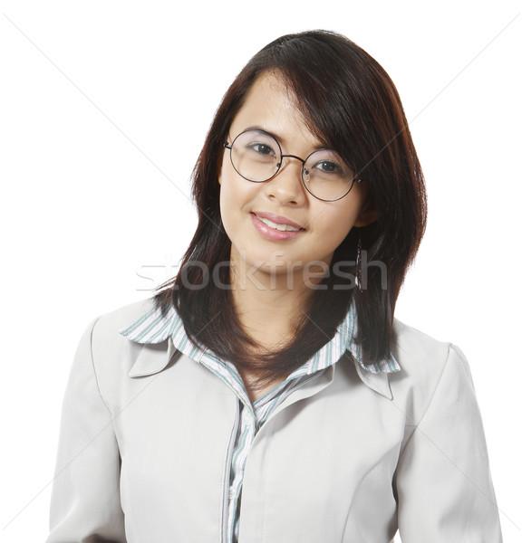 Stockfoto: Jonge · professionele · vrouwelijke · glimlachend · camera · business