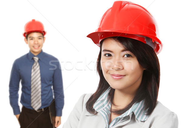 Stockfoto: Man · vrouw · uitvoerende · Rood · werknemer