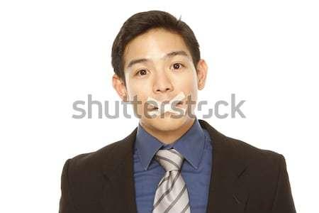 Сток-фото: бизнесмен · лента · рот · изолированный · белый · бизнеса