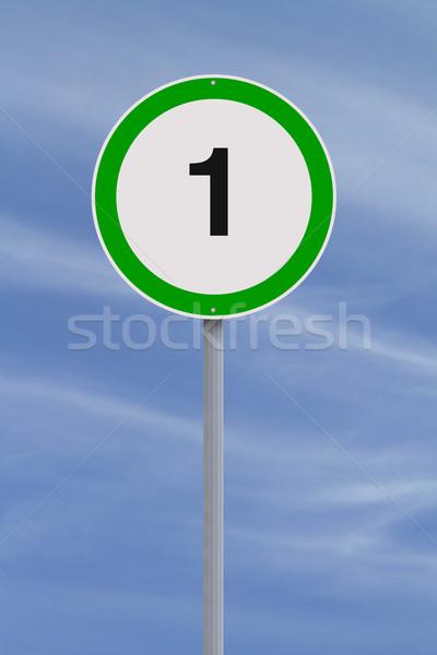 Uno límite de velocidad signo azul velocidad Foto stock © lorenzodelacosta