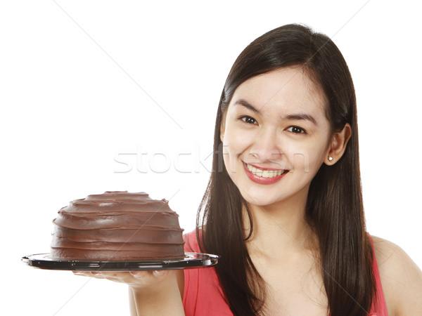 Nyami csokoládés sütemény fiatal nő finom fehér torta Stock fotó © lorenzodelacosta