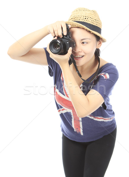 Stockfoto: Tiener · foto · glimlachend · camera · logos