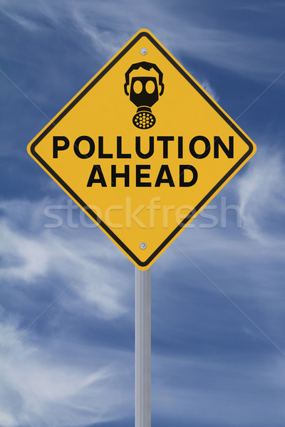 Pollution panneau routier avertissement ciel bleu route Photo stock © lorenzodelacosta