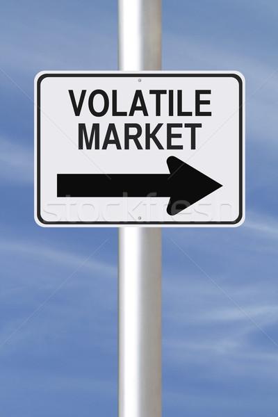 Piac erre egyirányú utca kék pénzügy irányítás Stock fotó © lorenzodelacosta