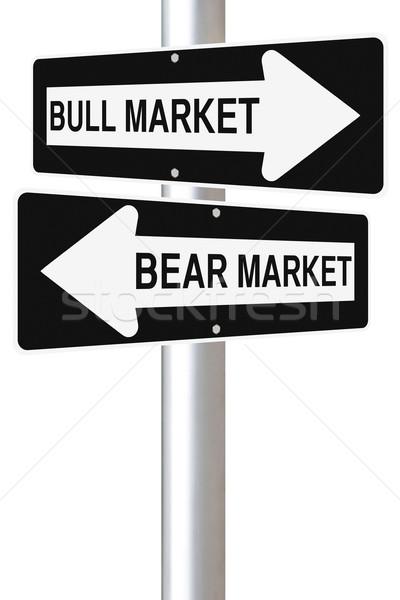 Foto d'archivio: Toro · orso · cartello · stradale · business · finanziare · mercato