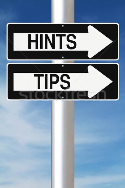 Conseils signes bleu flèche soutien Photo stock © lorenzodelacosta