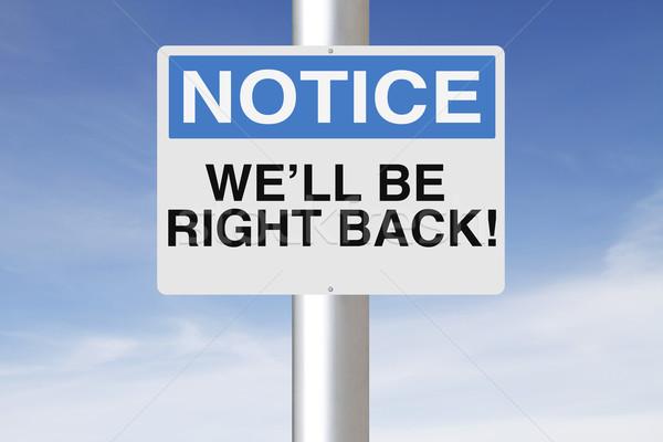 Helyes hát figyelmeztetés felirat kút Stock fotó © lorenzodelacosta