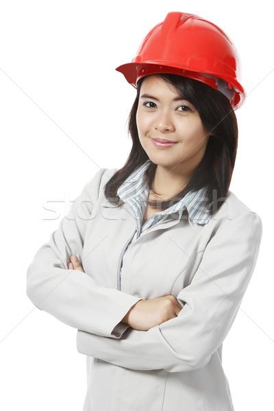 Stockfoto: Jonge · professionele · jonge · vrouw · veiligheidshelm · witte