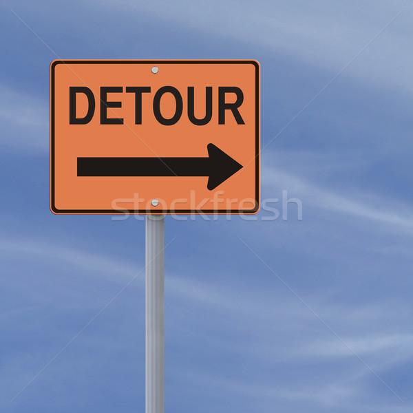 объезд дорожный знак знак Blue Sky небе оранжевый Сток-фото © lorenzodelacosta