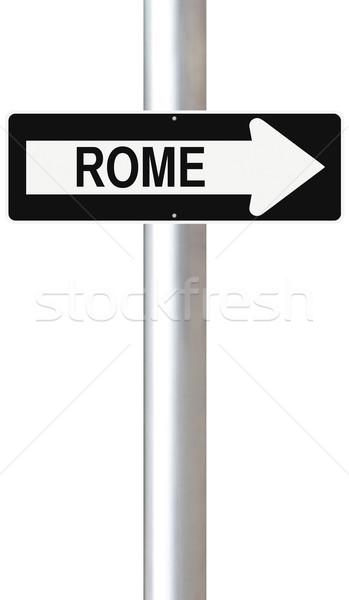 Erre Róma egyirányú utca Olaszország felirat Európa Stock fotó © lorenzodelacosta