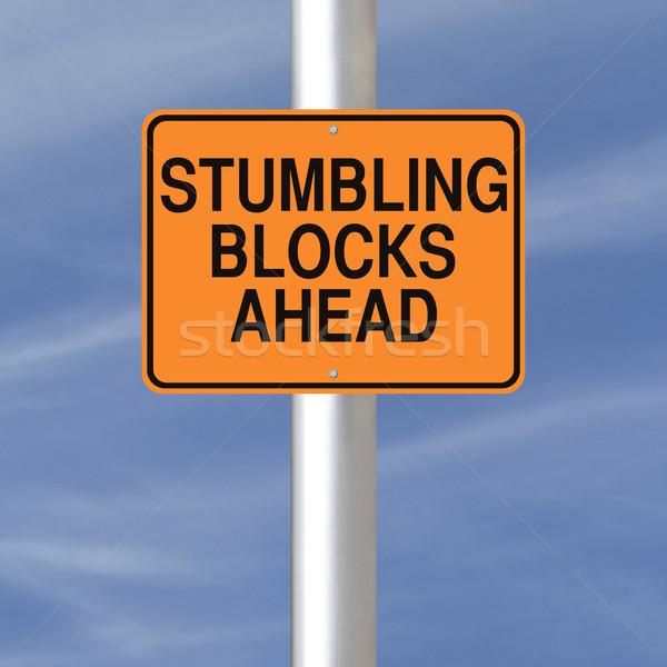 блоки впереди дорожный знак предупреждение небе оранжевый Сток-фото © lorenzodelacosta
