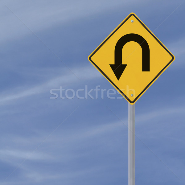 Stock photo: U Turn Road Sign