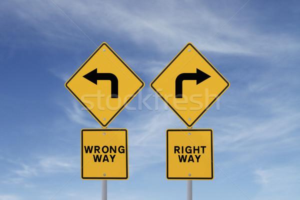 выбирать право способом дорожных знаков Blue Sky небе Сток-фото © lorenzodelacosta