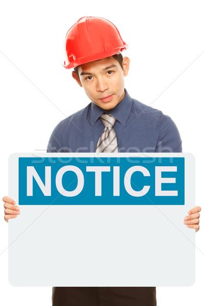 Bekanntmachung Zeichen Mann tragen halten Stock foto © lorenzodelacosta