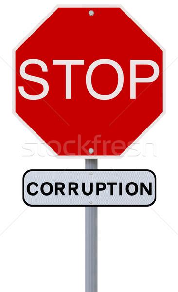 Stop korrupció stoptábla felirat piros bűnözés Stock fotó © lorenzodelacosta