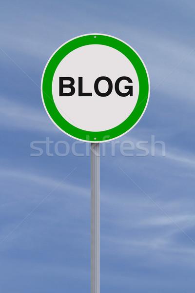 Blogging permis panneau routier signe réseau vert Photo stock © lorenzodelacosta