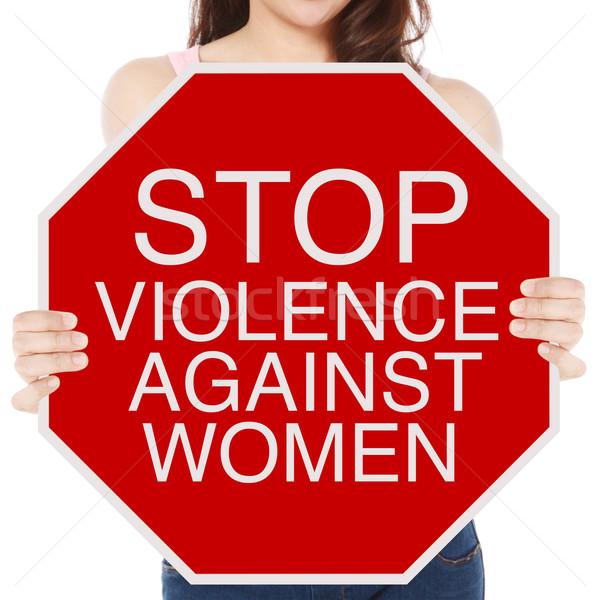 停止 暴力 女性 女性 一時停止の標識 ストックフォト © lorenzodelacosta