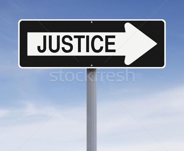 Igazság erre egyirányú utca felirat kék szabadság Stock fotó © lorenzodelacosta