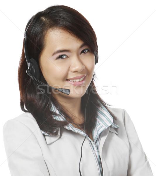 顧客サービス 若い女性 着用 ヘッド 女性 幸せ ストックフォト © lorenzodelacosta