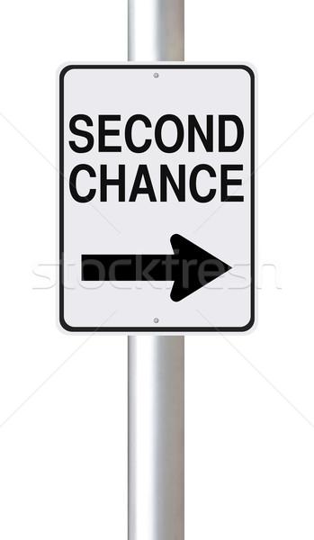 Zweiten Zufall Straßenschild Schild Richtung Stock foto © lorenzodelacosta