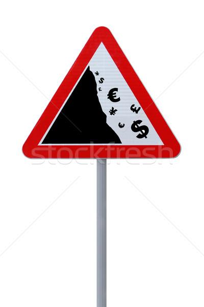 Yol işareti global finansal kriz düşmek dünya Stok fotoğraf © lorenzodelacosta
