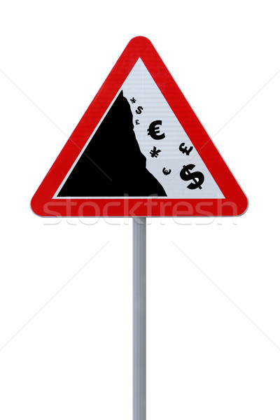 Placa sinalizadora global crise financeira cair mundo moedas Foto stock © lorenzodelacosta