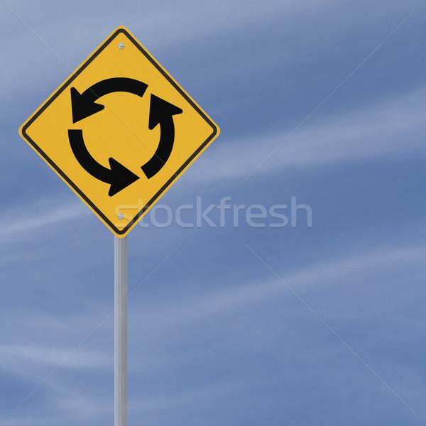 Rotonde vooruit teken blauwe hemel exemplaar ruimte diamant Stockfoto © lorenzodelacosta
