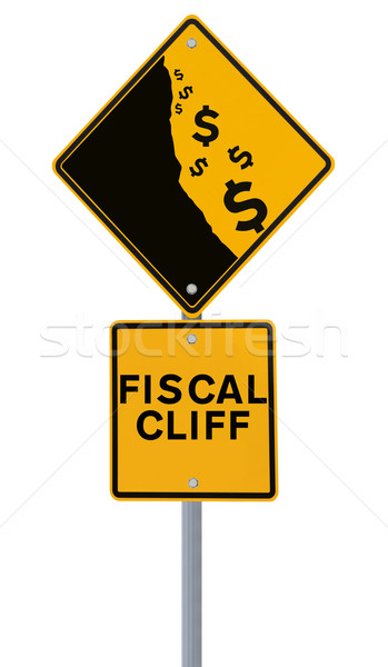 Stock photo: Fiscal Cliff Road Sign