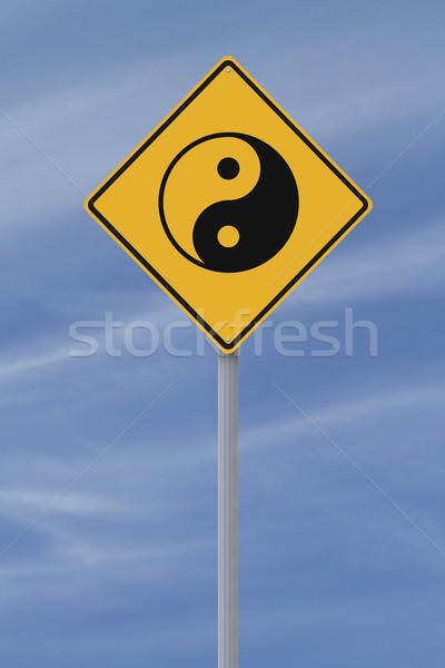 Yin yang yol işareti simge imzalamak mavi elmas Stok fotoğraf © lorenzodelacosta