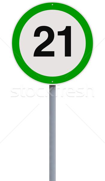 Veinte uno límite de velocidad signo número velocidad Foto stock © lorenzodelacosta