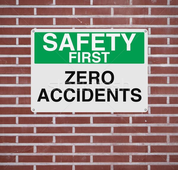 Zéro signe importance sécurité mur de briques concept Photo stock © lorenzodelacosta
