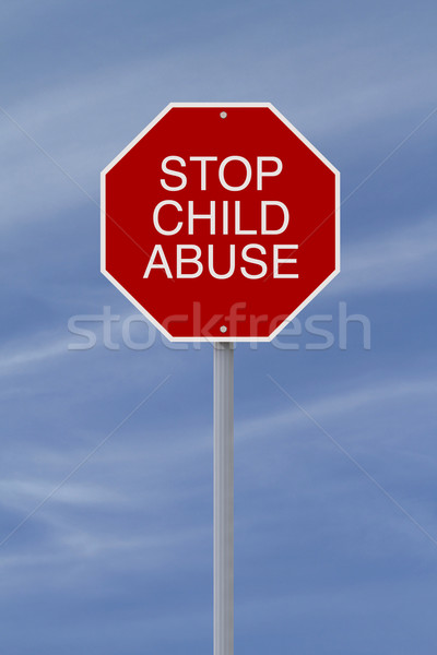 остановки жестокое обращение с ребенком знак остановки знак синий красный Сток-фото © lorenzodelacosta