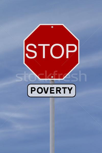 Stop szegénység stoptábla égbolt felirat kék Stock fotó © lorenzodelacosta