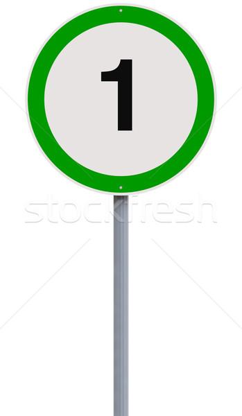 Bir hız limiti imzalamak hızlandırmak yol işareti Stok fotoğraf © lorenzodelacosta