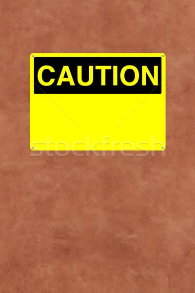 Cautela assinar vermelho segurança amarelo vazio Foto stock © lorenzodelacosta