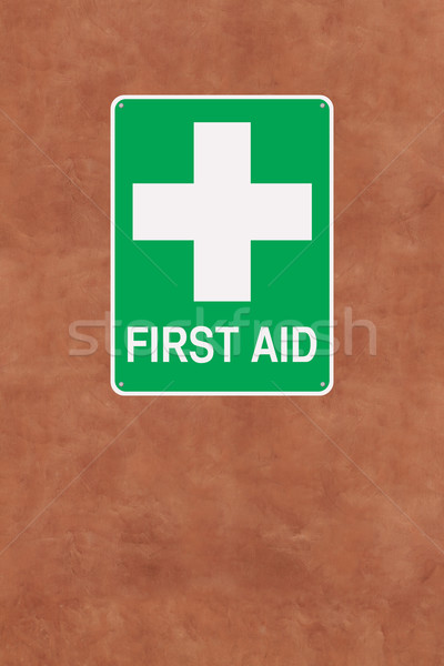 Elsősegély felirat kereszt egészség biztonság kezelés Stock fotó © lorenzodelacosta