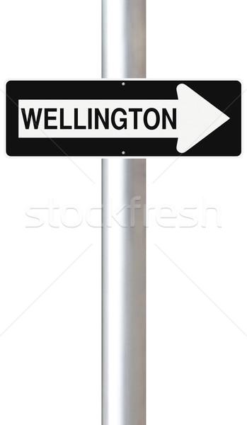 Erre Wellington egyirányú utca Új-Zéland felirat irányítás Stock fotó © lorenzodelacosta