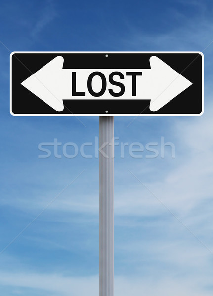 Perdu ciel panneau routier concept avertissement Photo stock © lorenzodelacosta