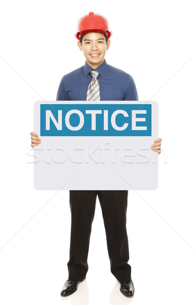 Man With A Notice Sign  Stock photo © lorenzodelacosta