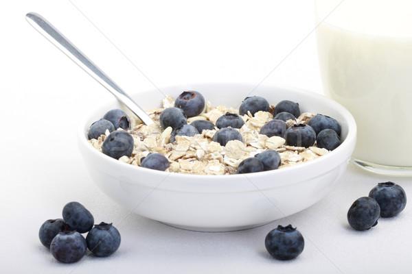 Müzli reggeli egészséges friss áfonya kék Stock fotó © lorenzodelacosta