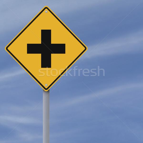 Kruispunt vooruit verkeersbord kruis Blauw diamant Stockfoto © lorenzodelacosta