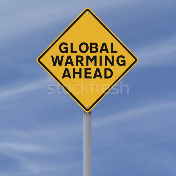 Globális felmelegedés előre figyelmeztető jel égbolt felirat gyémánt Stock fotó © lorenzodelacosta