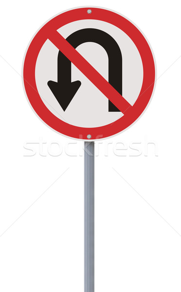 Fordul nem megengedett nem jelzőtábla felirat Stock fotó © lorenzodelacosta