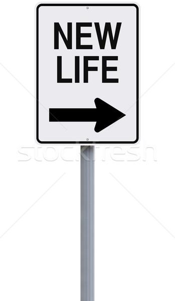 Yeni hayat yol işareti yeni kavram değiştirmek Stok fotoğraf © lorenzodelacosta