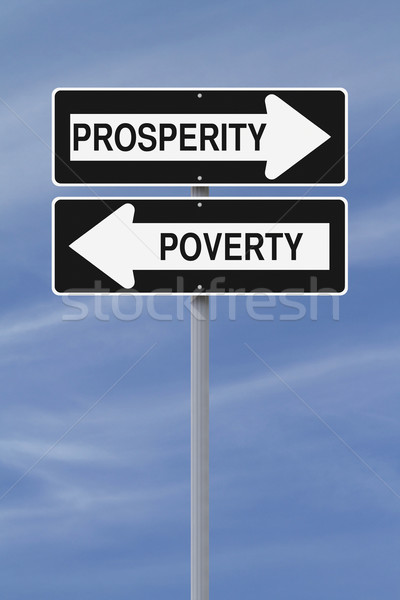Armoede straat borden Blauw toekomst Stockfoto © lorenzodelacosta