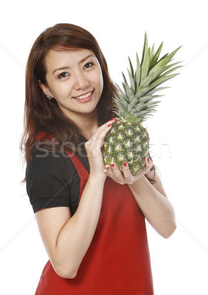 女性 パイナップル 若い女性 新鮮な フルーツ ストックフォト © lorenzodelacosta