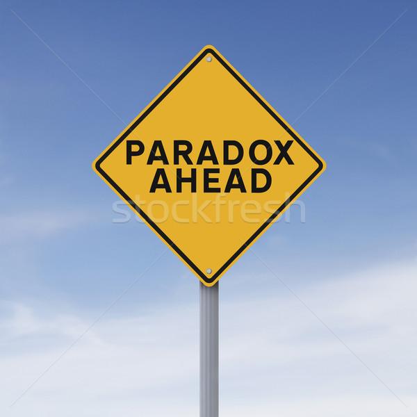 önde yol işareti mavi elmas sarı tehlike Stok fotoğraf © lorenzodelacosta