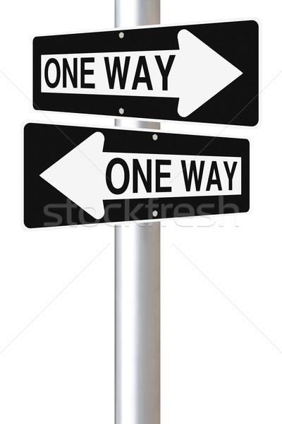 Egyirányú utca feliratok kettő egy mutat Stock fotó © lorenzodelacosta