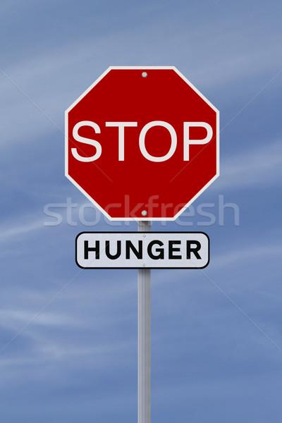Pare fome sinal de parada céu assinar azul Foto stock © lorenzodelacosta